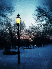 Guiding Light (Kent DuFault) Tags: street morning blue winter light sky cold weather clouds season early streetlight