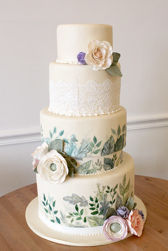 Hand Painted Greenery Sugar Flowers and Lace Wedding Cake