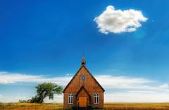 The church (JSEBOUVI : thanks for 1.9 million views !) Tags: door blue sky cloud tree green church azul architecture photoshop landscape vert porte nuage paysage arbre glise imaginaire