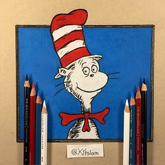 The Cat in The Hat Drawing | Dr. Seuss | Two Hand Drawing (Kitslam's Art) Tags: two color colour art hat cat wow children square book kid amazing cool colorful artist drawing dr cartoon creative seuss double story fanart wicked squareformat imagination colourful draw whoa drseuss colourpencil colorpencil catinthehat ambidexterity pencilcolour ambidextrous ambi pencilcolor amazingart twohand iphoneography instagramapp uploaded:by=instagram