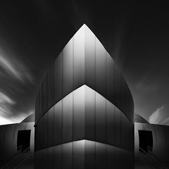 Spaceship (Waheed Akhtar Photography) Tags: longexposure light sky blackandwhite art monochrome architecture clouds canon dark dubai shadows space fineart uae spaceship longshutter fineartphotography blackandwhitephotography 6d longexposures ndfilter longexposurephotography canon6d monoart formatthitech mydubai waheedakhtar