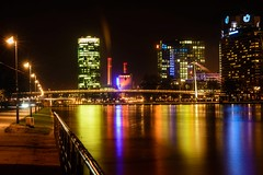 Colours of Frankfurt (c-u-b) Tags: reflection architecture night river germany nacht frankfurt streetphotography nighttime colourful frankfurtammain mainufer rivermain colouredlights