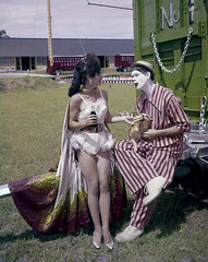 Aerialist and Clown at Circus Hall of Fame - Sarasota (State Library and Archives of Florida) Tags: dogs florida sarasota acrobats clowns circusperformers entertainers aerialists