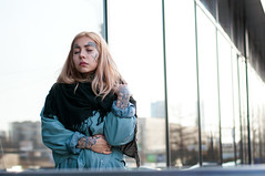 Anastasia (QuartzHD) Tags: street portrait girl beautiful face tattoo photoshop 50mm eyes nikon russia blond saintpetersburg nikkor d90 18g kupchino