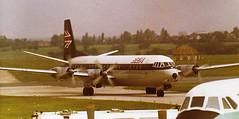 BEA Vickers Vanguard arrives at Birmingham Airport - Summer 1972 (terence.stilgoe) Tags: bea 1972 britishairways birminghamairport britisheuropeanairways elmdon vickersvanguard