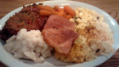 Cracker Barrel Sampler. (dccradio) Tags: food vegetables dinner lunch restaurant nc northcarolina plate meat eat meal supper dumplings platter meatloaf crackerbarrel macaroniandcheese starch lumberton babycarrots hashbrowncasserole sugarcuredham robesoncounty chickenanddumplins crackerbarrelsampler