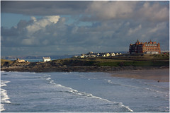 Looking across Fiscal Bay (Audrey A Jackson) Tags: homes sea sky seascape beach nature clouds landscape hotel sand cornwall waves newquay 1001nights fistralbeach canon60d