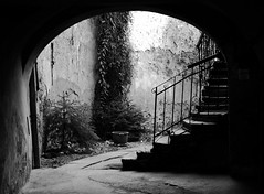 Sighisoara, Romania (PM Kelly) Tags: street travel light blackandwhite bw abstract black wall blackwhite stair rail romania sighisoara transylvania bnw