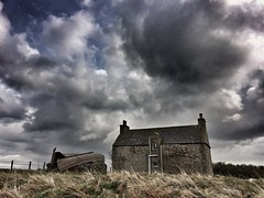south ron boat house (ingrid_b21) Tags: abandoned mobile clouds orkney dramaticsky derelict cloudporn iphone orkneyislands derelictcottage iphoneology snapseed wwpd16