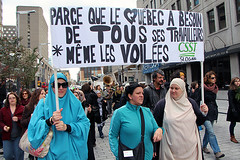 Quebec Charter of Values 3 (ncm_production) Tags: workers women quebec montreal protest hijab niqab veils quebeccharterofvalues