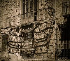 Balcony with shadows (Tigra K) Tags: city travel shadow window valencia wall fence spain ruin es lattice valncia 2015 comunidadvalenciana architdetail