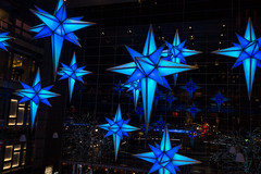 Time Warner Center Atrium (UrbanphotoZ) Tags: nyc newyorkcity blue trees ny newyork night reflections stars lights manhattan illuminated upperwestside columbuscircle atrium timewarnercenter