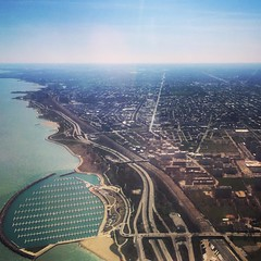 Sweet Home Chicago (Eric Bertram) Tags: lake chicago water marina square airport michigan flight delta lakemichigan landing squareformat midway approach mayfair lakefront iphoneography instagramapp uploaded:by=instagram