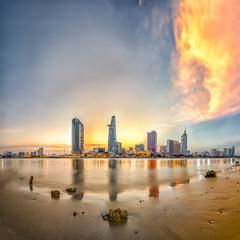 Saigon Sunset (___LANDSCAPE___) Tags: city longexposure sunset urban rock river asian amazing nikon asia cityscape vietnam bluehour saigon hochiminhcity puddlegram