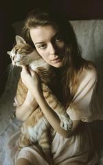 Red cat (lunarlaro) Tags: light portrait woman vintage hair dress autoportrait body emotions