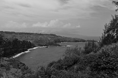 Pailolo Channel and Molokai - BW (rschnaible) Tags: ocean bw usa white seascape black west water landscape photography hawaii us pacific outdoor monotone maui cliffs tropical coastline tropics channel rugged molokai pailolo