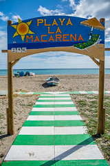 Playa la Macarena (Javier Palacios Prieto) Tags: blue sea sky costa sun white green sol beach azul clouds strand coast boat mar sand meer himmel wolken playa arena cielo nubes sonne arco mediterrneo torremolinos kste macarena mittelmeer