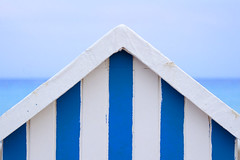 Blue white beach hut (Jan van der Wolf) Tags: blue roof sea seascape lines seaside blauw stripes zee symmetry symmetric beachhut beachhuts dak lijnen strepen symmetrie map128417v