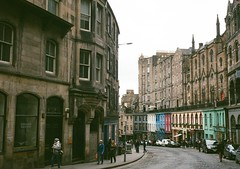 op - edinburgh streets (johnnytakespictures) Tags: road street city film retail architecture pen buildings scotland lomo lomography edinburgh path olympus analogue halfframe ee3 lomographycn400