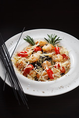 Black spaghetti with shrimps and vegetables (Alexandr Sherstobitov) Tags: food white black vertical horizontal closeup dinner ink tomato cherry lunch cuisine leaf still healthy italian eating plate shrimp vegetable pasta gourmet homemade meal basil seafood spaghetti cooked savory freshness prawn prepared readytoeat