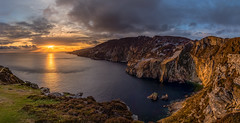 Slieve League - Sliabh Liag (Swavek Skibinski) Tags: ocean ireland sunset panorama cliff mountain water yellow canon landscape europe outdoor wide atlanticocean hdr donegal 2016 slieveleague sliabhliag 700d 1018mm