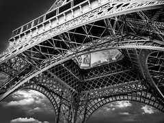 The Eiffel Tower.  Paris, France (LKungJr) Tags: bw paris france eiffeltower