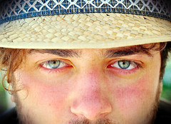 I Like To Start Out Each Day From The Beginning (Steve Lundqvist) Tags: boy portrait macro guy face hat closeup eyes watching straw cap stare cappello