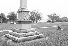 """Monument to """"Our Confederate Soldiers"""", Wiess Park, Beaumont, Texas 1604281403bw (Patrick Feller) Tags: park county heritage history monument memorial war texas jim keith confederate civil hate jefferson denial crow shame slavery weiss racism racist beaumont cause 1926 1916 relocated bigotry wiess revisionist"""