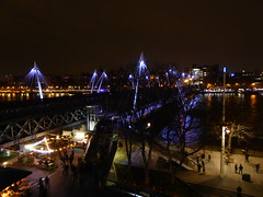 Looking down at the Thames from Level 5 of the Royal Festival Hall (stillunusual) Tags: uk travel bridge england urban london thames night river dark evening cityscape streetphotography riverthames royalfestivalhall urbanlandscape urbanscenery 2016 travelphotography ldn travelphoto travelphotograph londonstreetphotography