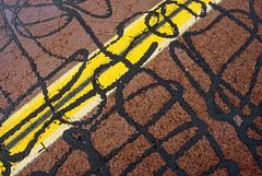 street art (rappensuncle) Tags: road street black art texture yellow closeup paint stripe rough asphalt tar rappensuncle