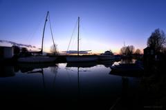 Serenity (Steve.T.) Tags: sunset reflection water silhouette river evening boat twilight nikon yacht dusk wideangle bluesky fisheye serene essex maldon heybridgebasin samyang8mmfisheyelens d7200 ommotimagery ilobsterit