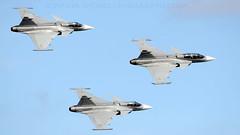 JAS 39 Three Ship Flypast. (spencer.wilmot) Tags: plane airplane sweden aircraft aviation jet airshow saab militaryaviation gse sve airdisplay flypast gripen esgp jas39 swedishairforce gothenburgcityairport 3ship