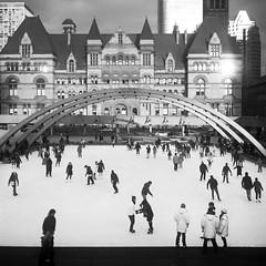 Nathan Phillips Square, Toronto (Richard Wintle) Tags: blackandwhite bw toronto 120 6x6 tlr film ice monochrome mediumformat square downtown skating squareformat rink mf ilford fp4 voigtländer v6 twinlensreflex nathanphillipssquare oldcityhall skopar brillant adox fx39 ilfordfp4125 film:brand=ilford film:iso=125 film:name=ilfordfp4125 filmdev:recipe=10612