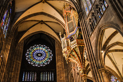 Immensity (bonannimatteo) Tags: france church window colors rose architecture warm cathedral interior warmth strasbourg organ notre dame