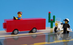 Everyone knows red cars get pulled over more often (city.s) Tags: cactus car movie lego bad police cop motorcycle piece resistance minifigure moc emmet