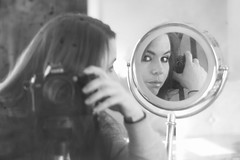 """If youre searching for that one person who will change your life, take a look in the mirror."" (DyeDye) Tags: camera blackandwhite selfportrait reflection me mirror eyes nikon meh happysunday mirrorinmirror selfiesunday stilldontlikethewordselfie"