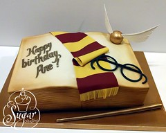 Harry Potter book cake (RebeccaSutterby) Tags: birthday cake scarf glasses book wand harrypotter quidditch