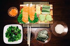 Sashimi Night (rrooffuss) Tags: food fish japanese avocado salad lemon raw rice sashimi cucumber salmon fujifilm nori vsco vscofilm  fujifilmx100t vscofilm06 mukbang