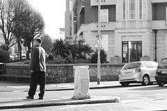 Pedestrian crossing (Joybot) Tags: road street old blackandwhite bw man person crossing streetphotography elderly eastbourne everyday pearlhouse