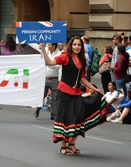 Introducing the Persian Community (mikecogh) Tags: woman sign persian costume pretty dress traditional parade adelaide cbd iranian multicultural australiaday