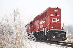 Foggy Morning For The Local (Ryan Distad) Tags: railroad morning minnesota fog spur frozen pacific foggy railway locomotive local cp candian plainview emd gp20ceco