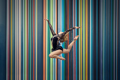 (dimitryroulland) Tags: street city light urban paris france color lines design dance jump nikon colorful natural 85mm dancer ladefense gymnast gymnastics 18 gym rhythmic d600 dimitry roulland