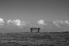 Nice View (Aviator195) Tags: ocean sea sky blackandwhite monochrome field grass clouds bench interesting chair nikon sitting cloudy seat horizon perspective sydney australia monochromatic local tasman allusion greyscale monavale northernbeaches d7100 nikond7100