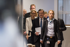 Press Conference (European Central Bank) Tags: frankfurtammain ecb finance pressconference ezb interestrates europeancentralbank monetarypolicy vitorconstancio eurozone mariodraghi euroarea financialbanking ecbmainbuilding christinegraeff
