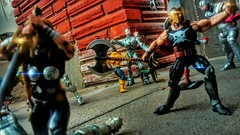 Back porch RUMBLE!!! (shefner77) Tags: camera family scale nature comics fun outside outdoors actionfigure fire photography fan photo spring fight brawl backyard war play action edited awesome cellphone sunny pic battle victory entertainment fantasy age actionfigures superhero sword scifi april sciencefiction heroes fatherandson marvel villain cinematic mighty captainamerica figures epic greekmythology avengers 118 ares marveluniverse 375 ultron valkyri