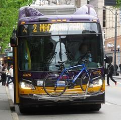 King County Metro 2015 New Flyer XT40 4326 (zargoman) Tags: seattle county travel bus electric king metro trolley transportation transit kiepe elektrik kingcountymetro newflyer lowfloor xcelsior