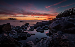 Under the Red (Mika Laitinen) Tags: ocean longexposure blue sunset red sea sky orange cloud sun seascape tree nature water suomi finland landscape twilight helsinki dusk wideangle fi vuosaari uusimaa kallvik tokina1116mm canon7dmarkii