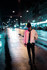 Kaan #1 (ArneSchramm) Tags: street light red portrait reflection guy fashion night neon bokeh streetlights sony lifestyle palace cap a7 supreme y3 a7ii tumblr