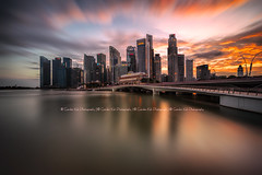 Shenton Glory (Gordon Koh) Tags: city sunset cloud reflection skyline skyscraper singapore asia long exposure riverfront jubileebridge shentonway