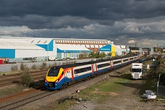 222002 - 1F55 - Meadow Lane - 29/04/16 (D9000RoyalScotsGrey Photography) Tags: cloud sun london st dark sheffield meadow trains east lane colourful pancras emt meridian midland loughborough midlands mainline 1f55 222002